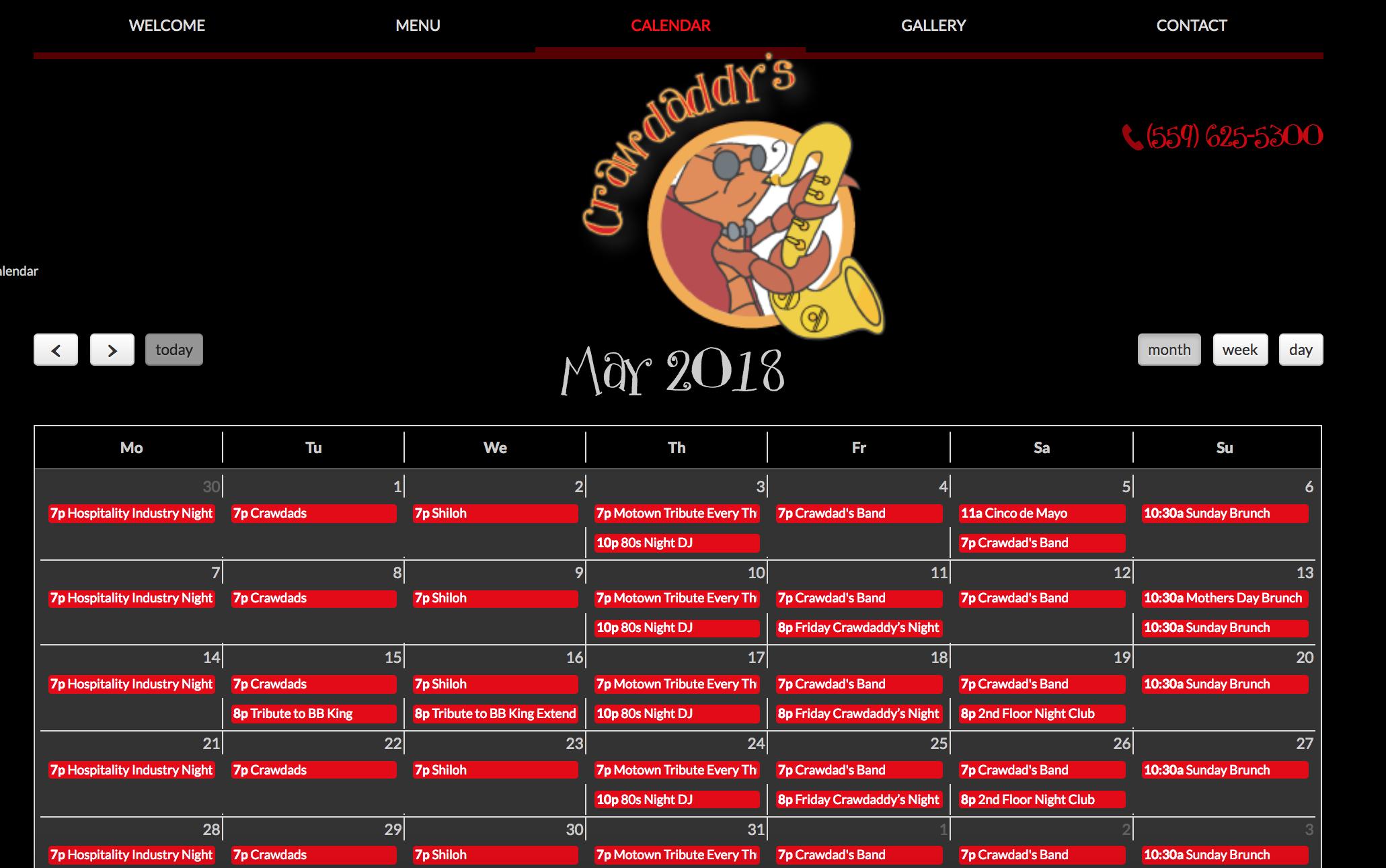 Crawdaddy's Visalia Calendar