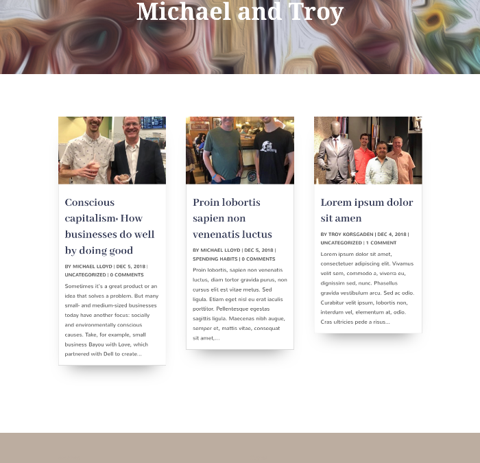 Michael and Troy – Two Viewpoints